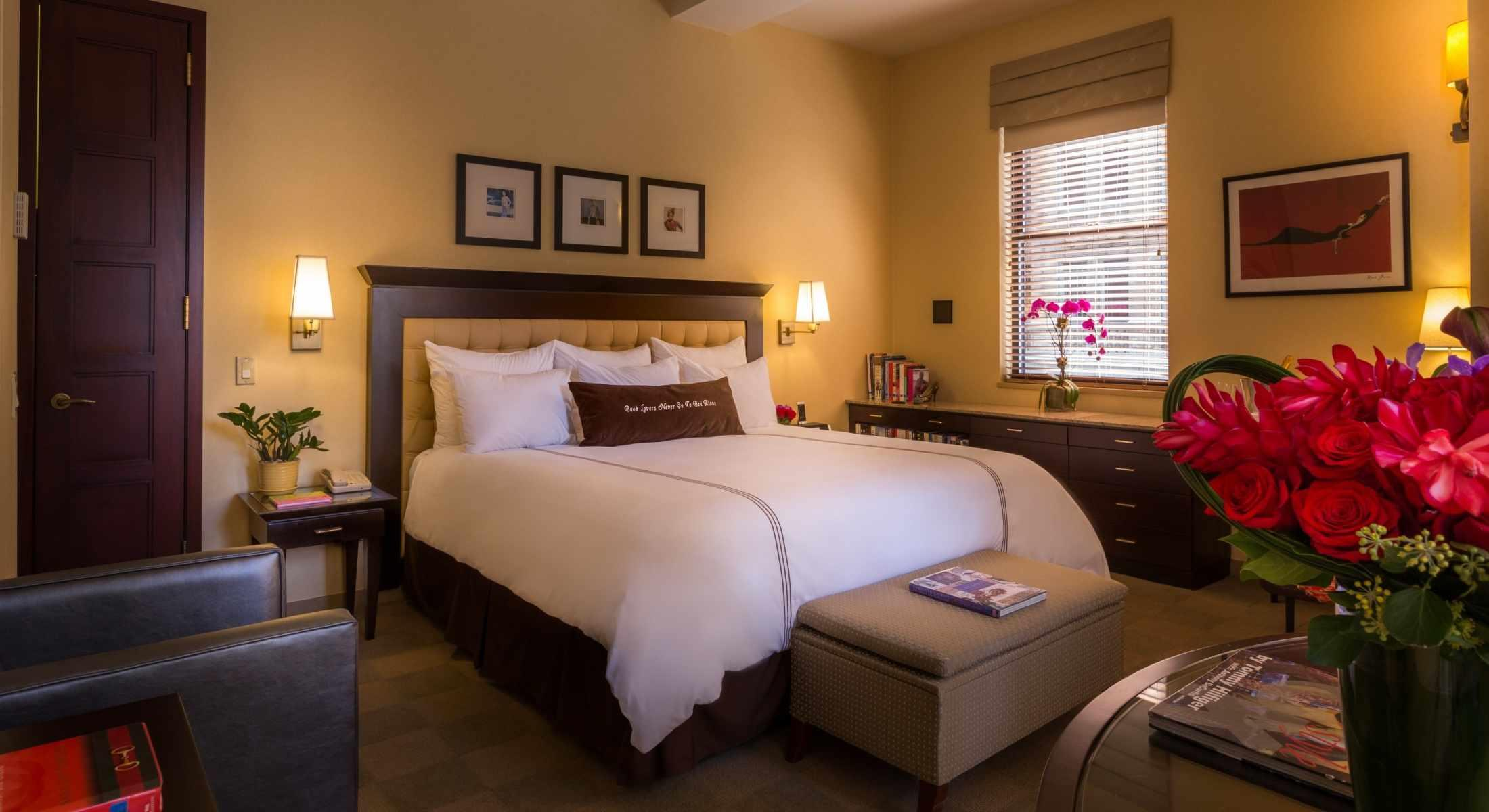 Junior Suites are the Library Hotel's largest room with 1 king bed and sitting area.