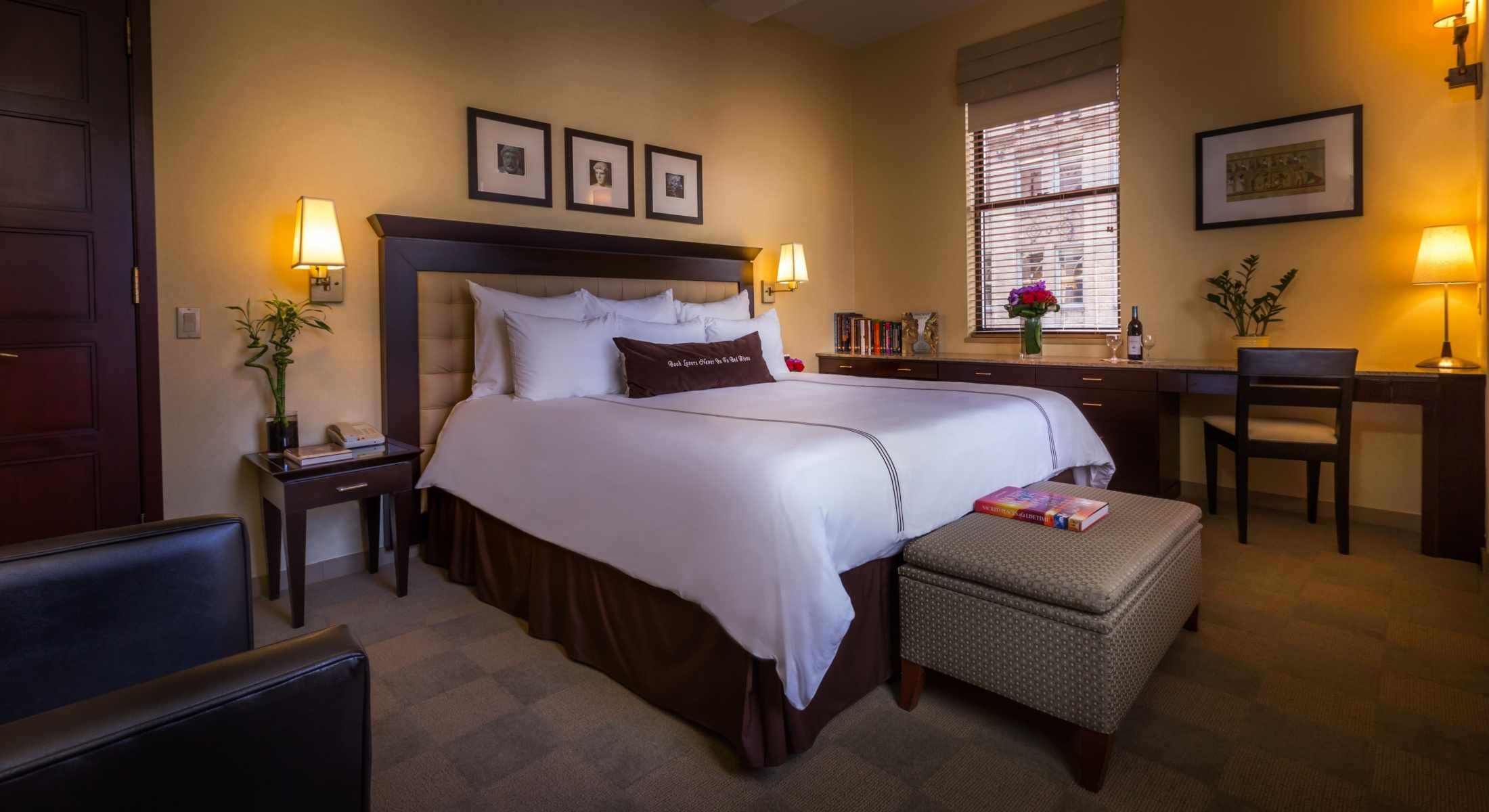 The Mythology Room features a King Bed and a large desk perfect for couples or a long stay.