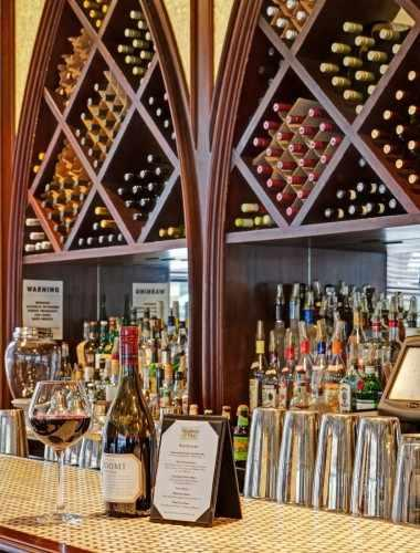 Choose your perfect glass from a wide selection of wines at Madison & Vine.