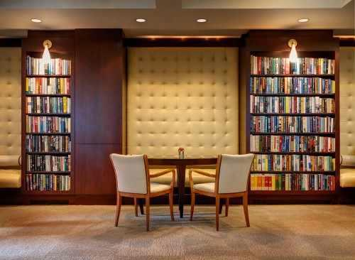 The Library Hotel Reading Room is available 24 hours a day to relax and unwind.