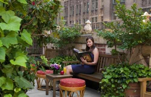 Library Hotel guests are welcome to enjoy the Poetry Garden Terrace throughout the day, unless it is booked for a private function.