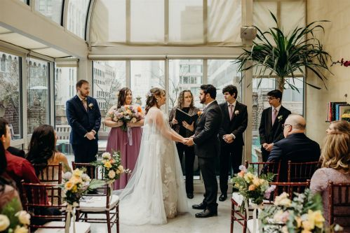 We love weddings in all seasons, including an enchanting winter wedding with indoor ceremony in our Poetry Garden. Photo by: Lauren Spinelli Photography