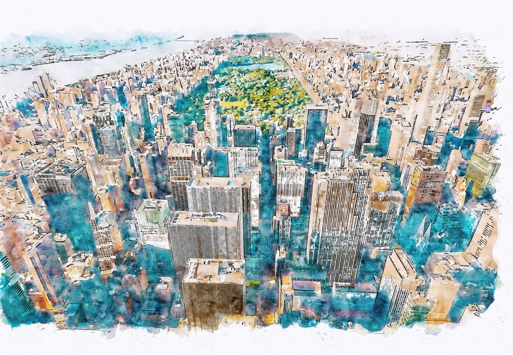 Painting of aerial view of Manhattan and Central Park